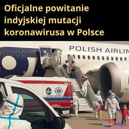 Oficjalne powitanie indyjskiej mutacji koronawirusa w Polsce