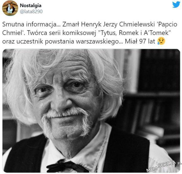 Zmarł Henryk Jerzy Chmielewski, twórca Tutusa, Romka i Atomka