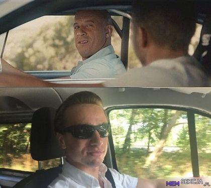 Krzysztof Bosak jedzie se autem z Vin Diesel'em